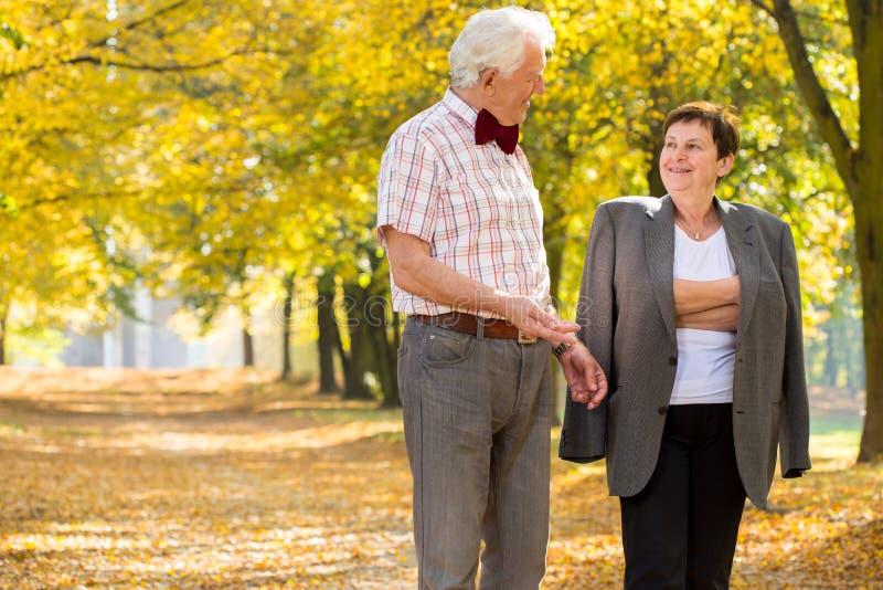 年长婚姻在公园 免版税库存照片