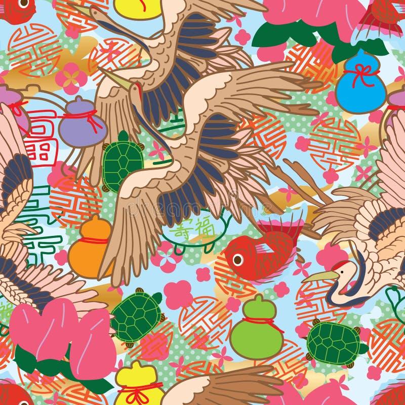 长寿逗人喜爱的题材中国人日本无缝的样式 库存例证