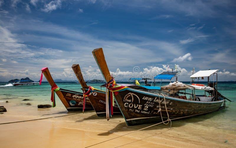 长尾巴小船,安达曼海,披披岛唐,泰国 免版税库存照片