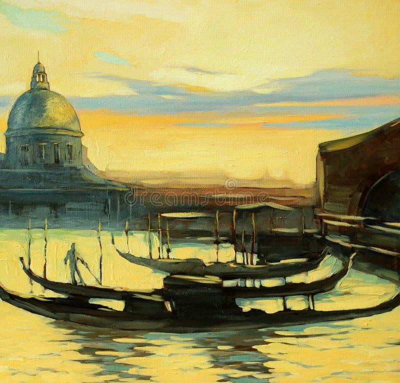 长平底船向威尼斯,绘 库存例证