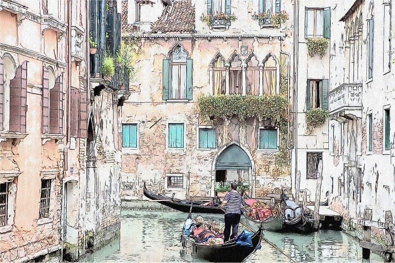长平底船和古老大厦在一种内在渠道,威尼斯,意大利 库存例证