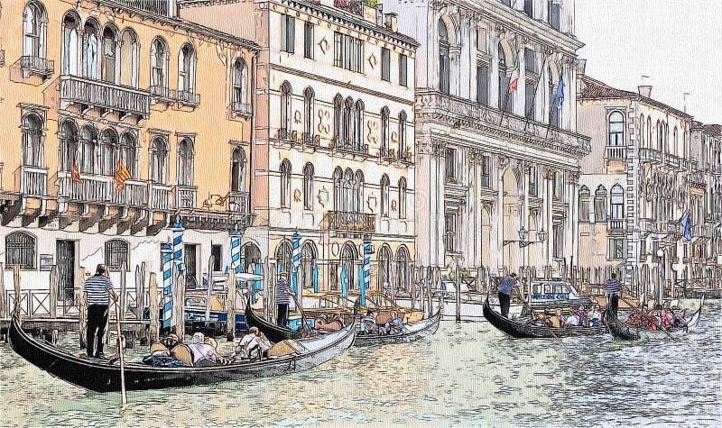 长平底船和古老大厦在重创的运河,威尼斯,意大利 向量例证