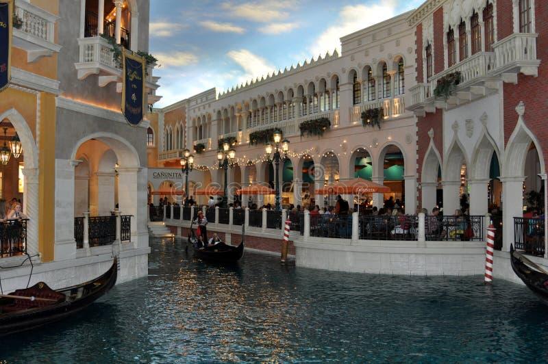 长平底船和河在威尼斯式旅馆拉斯维加斯 库存照片