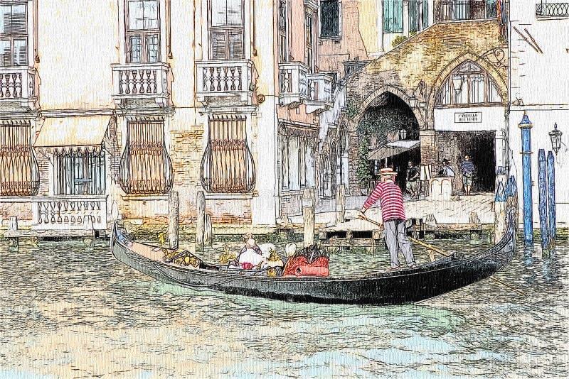 长平底船图画在运河的重创在威尼斯,意大利 皇族释放例证