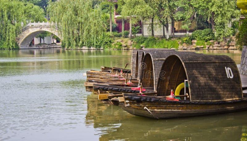 长平底船在南京中国 免版税图库摄影