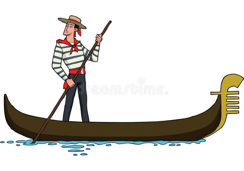 长平底船的平底船的船夫 库存例证