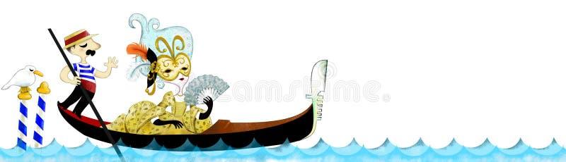 长平底船veneziana 皇族释放例证