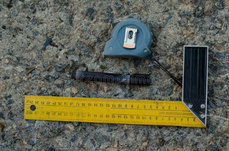 长度测量工具 的便利与测量一起使用 免版税库存图片