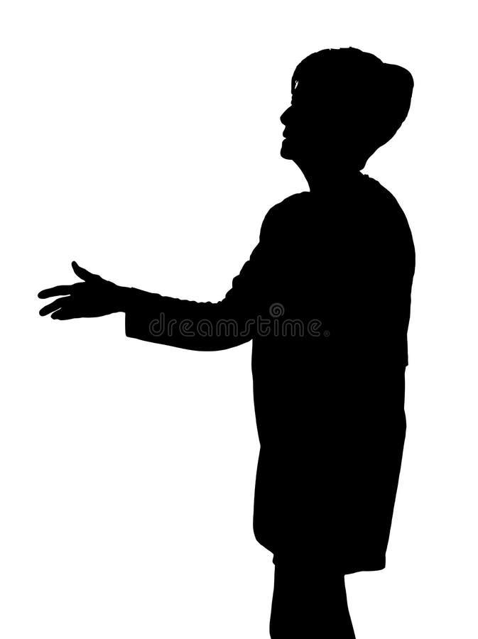 年长招呼的夫人剪影延伸的手与握手 皇族释放例证