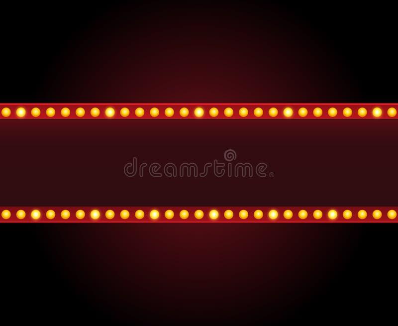 长方形传染媒介剧院与光的标志框架 向量例证