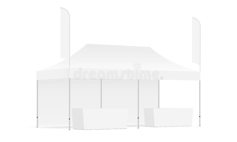 长方形帐篷嘲笑与一墙壁,羽毛旗子,示范桌 向量例证