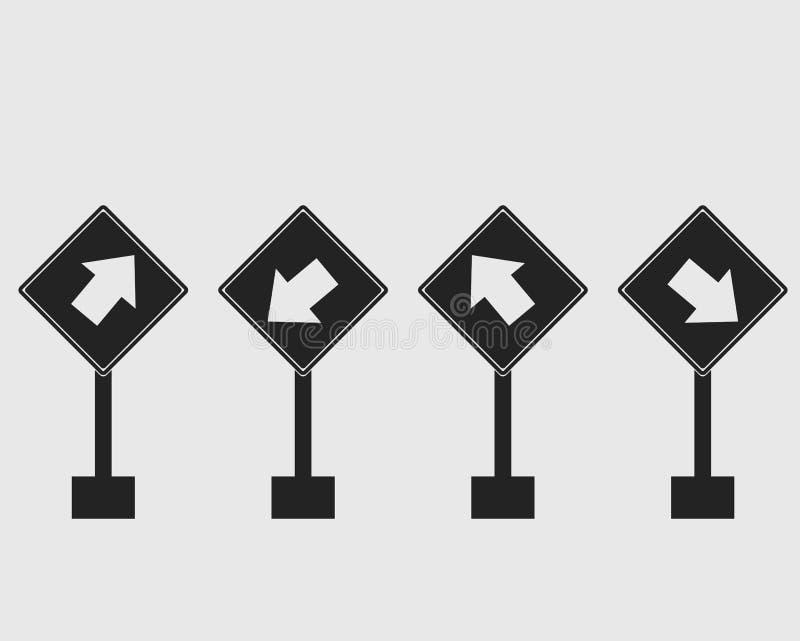 长方形斑马线被环绕的路牌象 向量例证