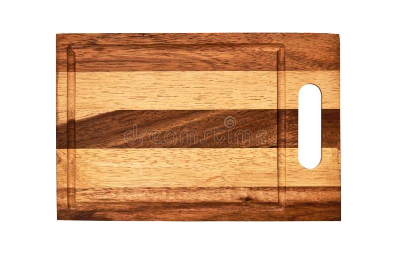 长方形木切板,看法从上面隔绝在与裁减路线的白色背景 免版税图库摄影