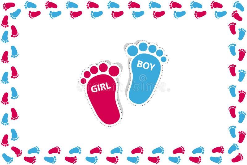 长方形框架由-传染媒介例证做成-被隔绝的女婴和男孩脚在白色背景 皇族释放例证