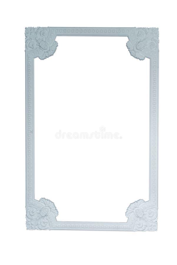 长方形被雕刻的木相框 在白色隔绝的华丽被绘的相框   二裁减,删去了 免版税库存图片