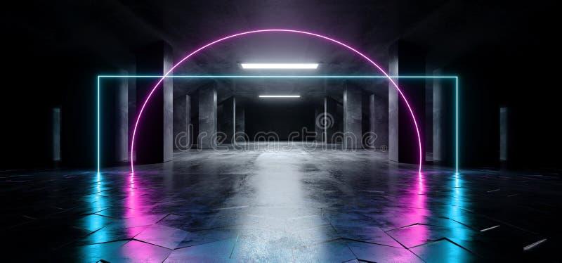 长方形霓虹激光紫色蓝色发光的科学幻想小说现代黑暗的具体水泥沥青未来派太空飞船地下车库隧道 皇族释放例证