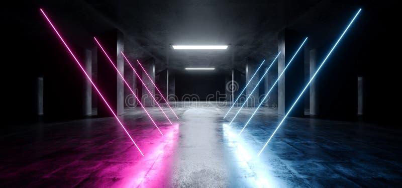 长方形霓虹激光紫色蓝色发光的科学幻想小说现代黑暗的具体水泥沥青未来派太空飞船地下车库隧道 库存例证