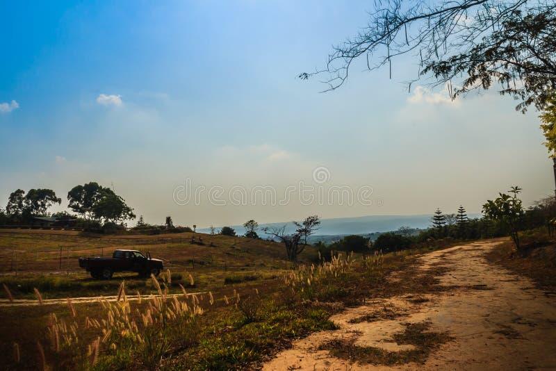 长期和绞的农村路横渡在夏天农田有蓝天背景和拷贝空间的小山文本的 免版税库存图片