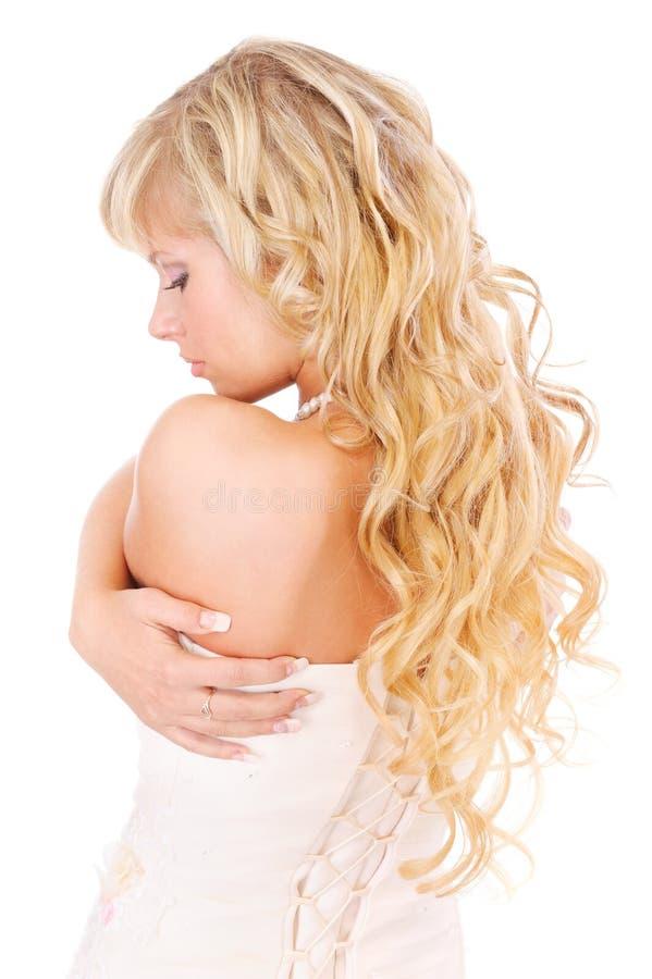 长期回到公平的女孩头发 库存照片