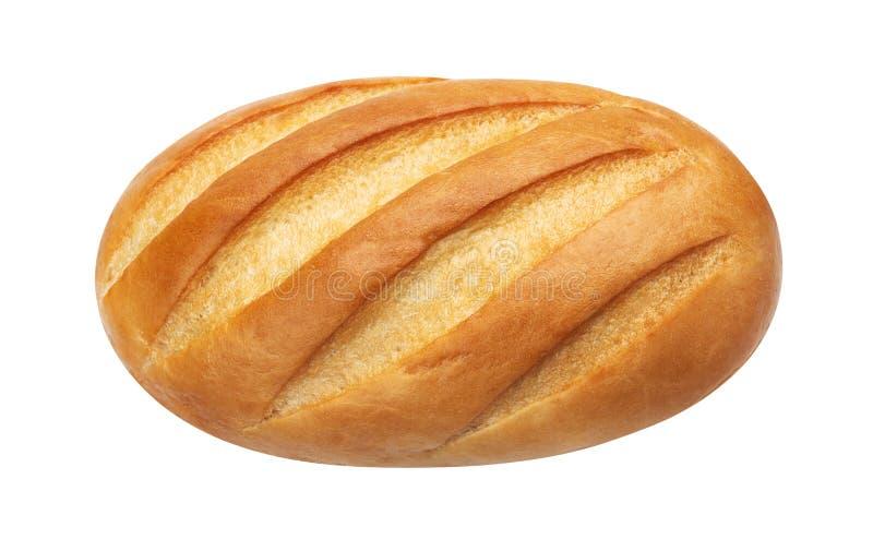 长期大面包 在白色背景隔绝的白面包,顶视图 免版税库存照片