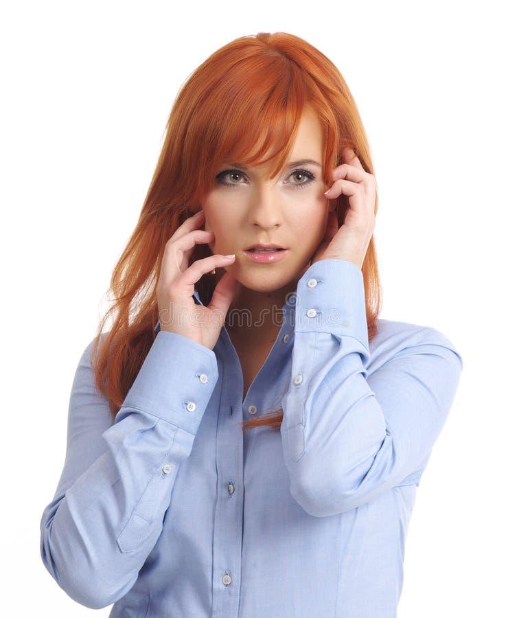 长期头发夫人红色 免版税库存图片