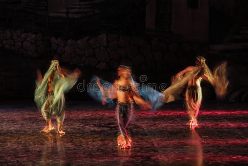 长期执行他们的艺术的芭蕾舞女演员和芭蕾的被暴露的和五颜六色的照片在音乐会 库存图片