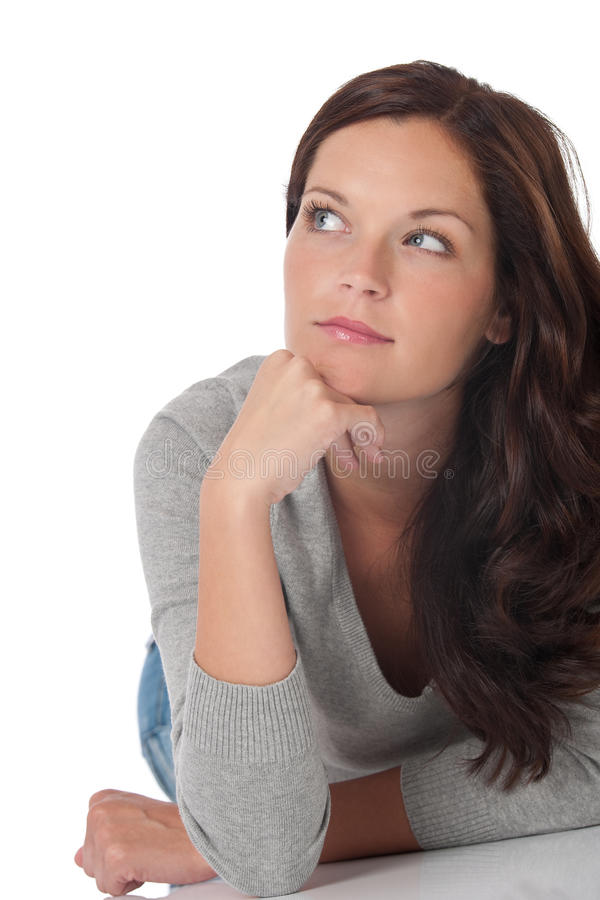 长期棕色头发注意的妇女 库存图片