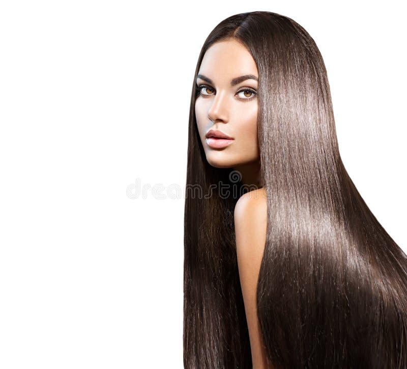 长期美丽的头发 有平直的黑发的秀丽妇女 图库摄影