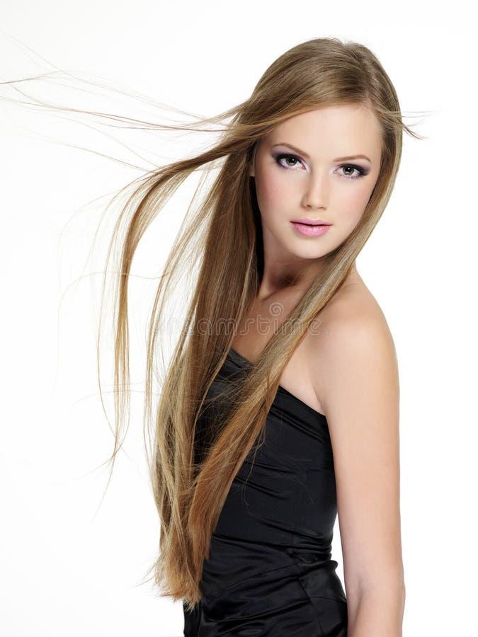 长期美丽的女孩头发 库存图片