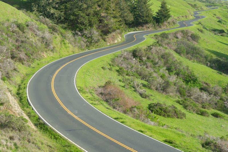 长期,沿太平洋海岸高速公路的弯曲道路 免版税库存图片