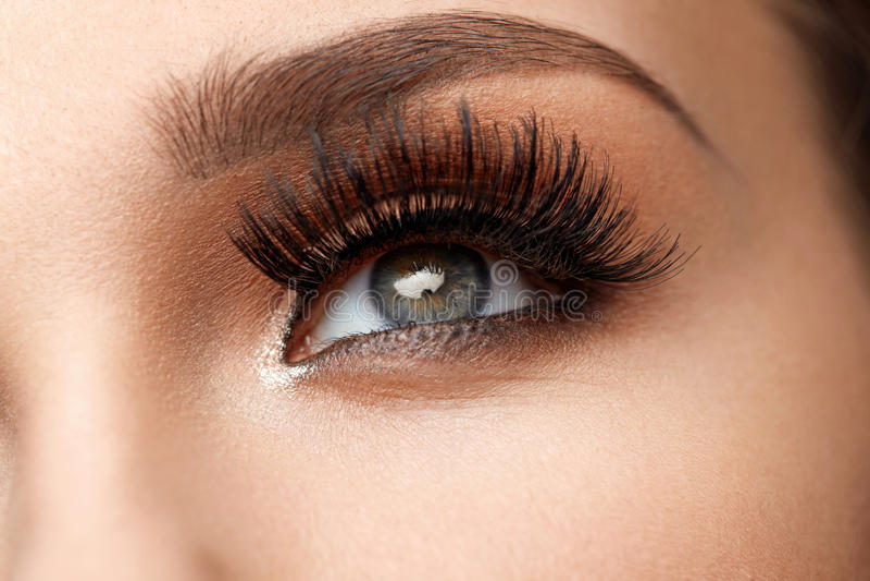 长期黑色睫毛 与构成的特写镜头美丽的女性眼睛 免版税库存照片