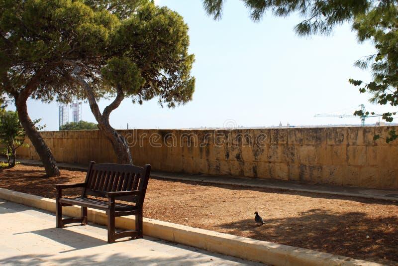 长木凳在公园,马耳他, valetta, 免版税图库摄影