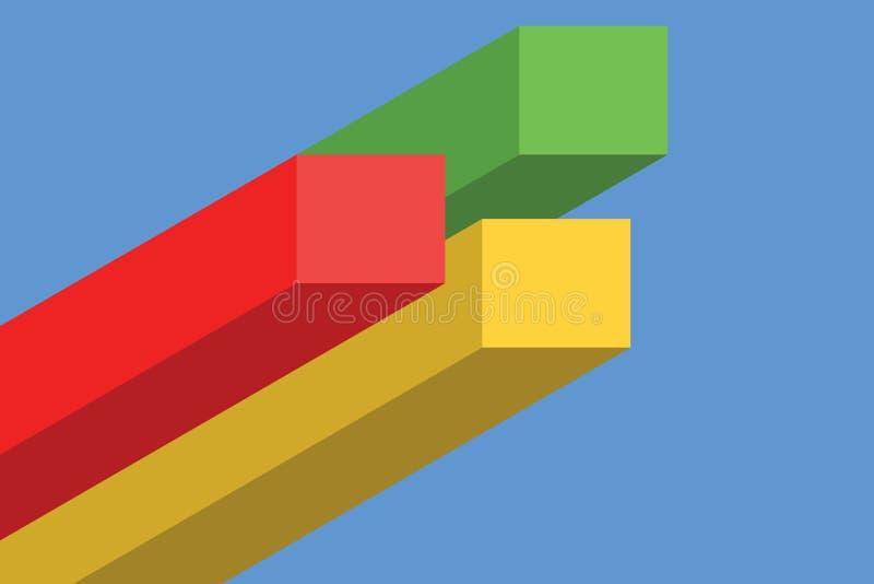 长条图和线Infographics元素3D照片平的设计,完整色彩的现代企业步origami样式选择 皇族释放例证