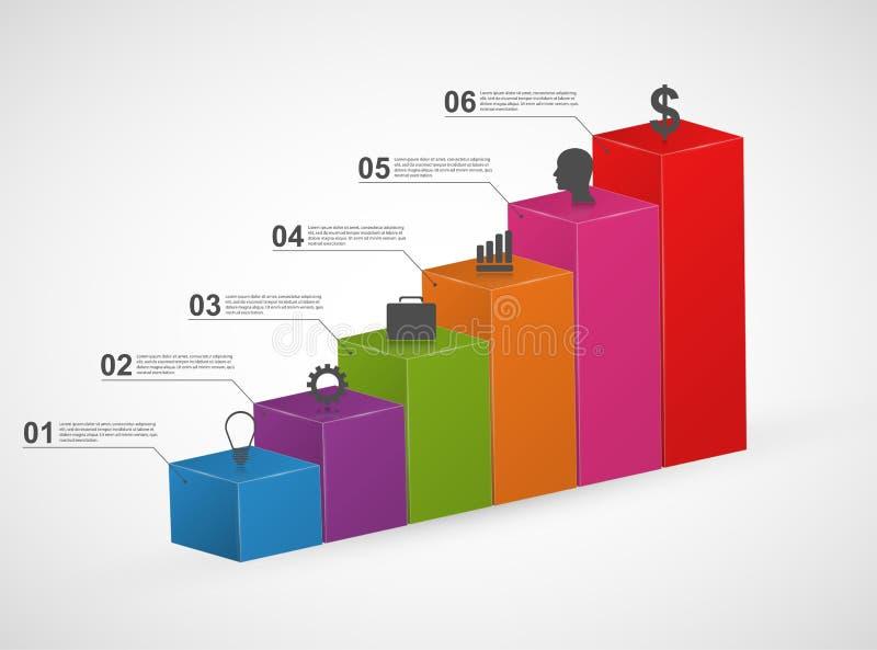 长条图 3D五颜六色的infographics设计模板 向量例证