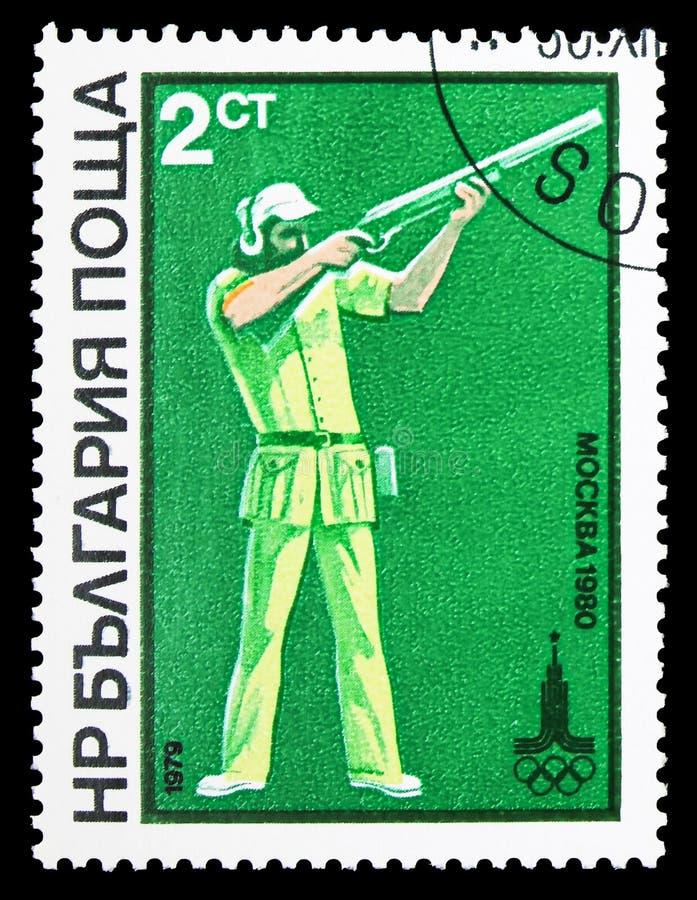 长柄水杓射击,在1980年夏天奥运会,莫斯科(iv) serie,大约1979年 库存照片