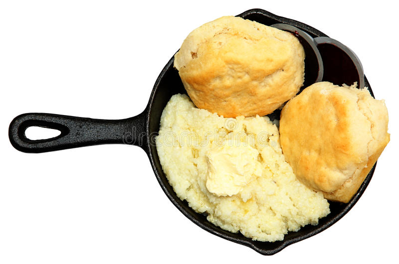 长柄浅锅沙粒和饼干用黄油和果酱 库存照片