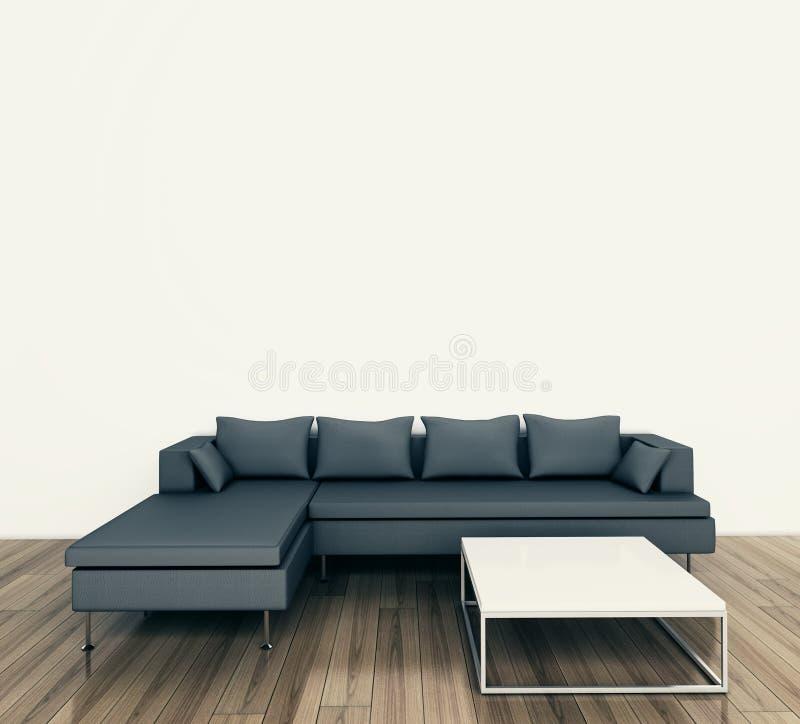 长沙发内部最小的现代表 免版税库存图片