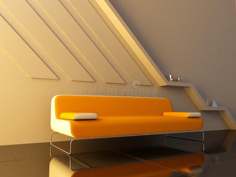 长沙发内部现代橙色空间开会 皇族释放例证
