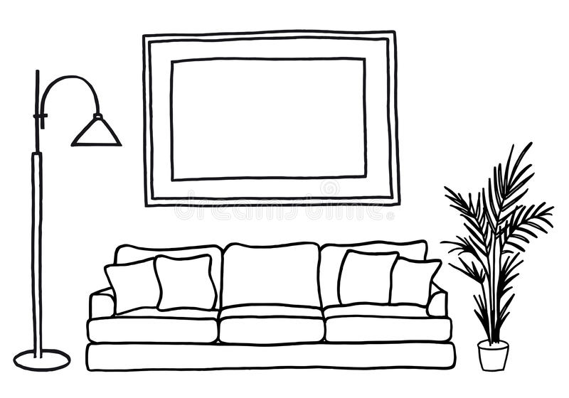 长沙发和空白的画框,传染媒介大模型 皇族释放例证
