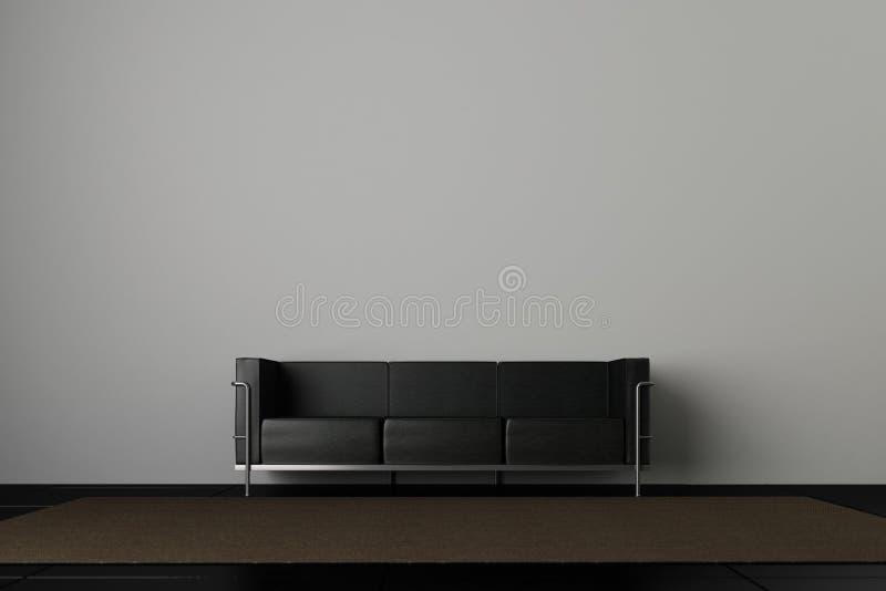 长沙发灰色墙壁 皇族释放例证