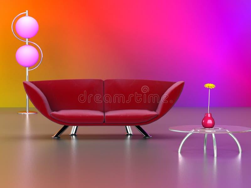 长沙发现代红色 免版税库存照片
