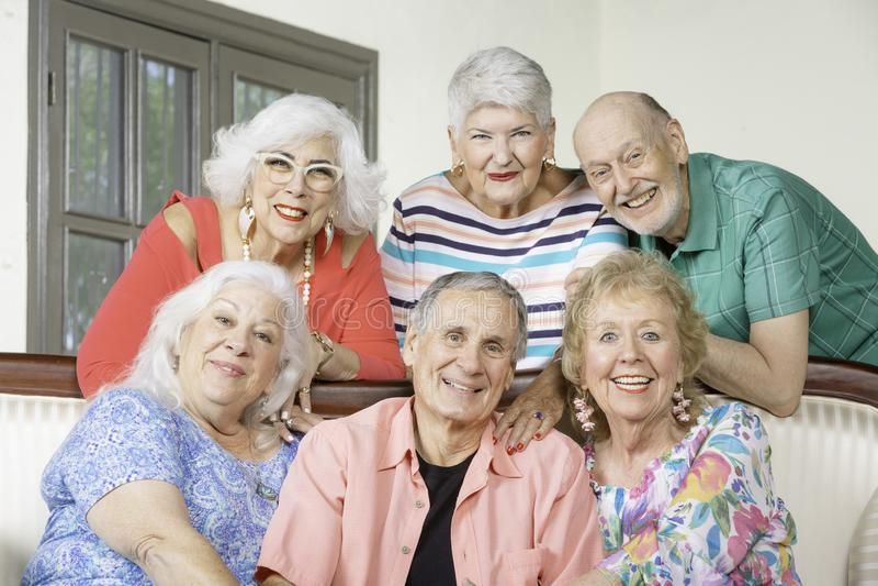 长沙发的六个资深朋友 免版税图库摄影