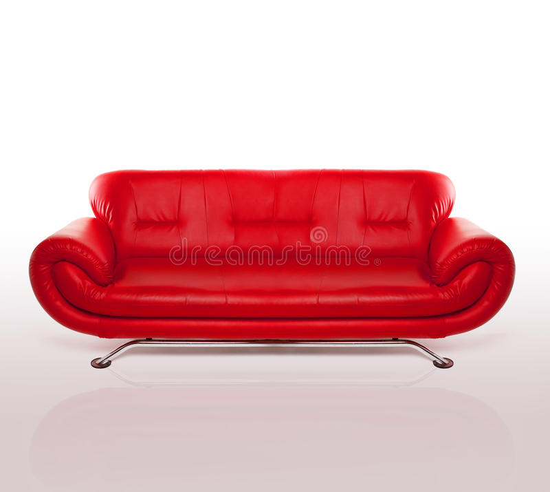 长沙发皮革现代红色 库存图片