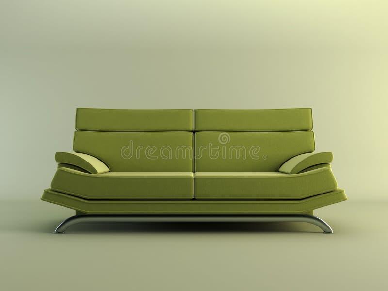 长沙发绿色现代 库存例证