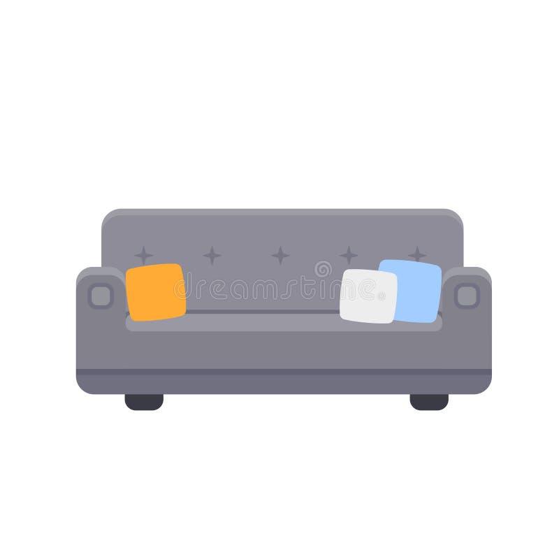长沙发象的传染媒介例证与枕头的 向量例证