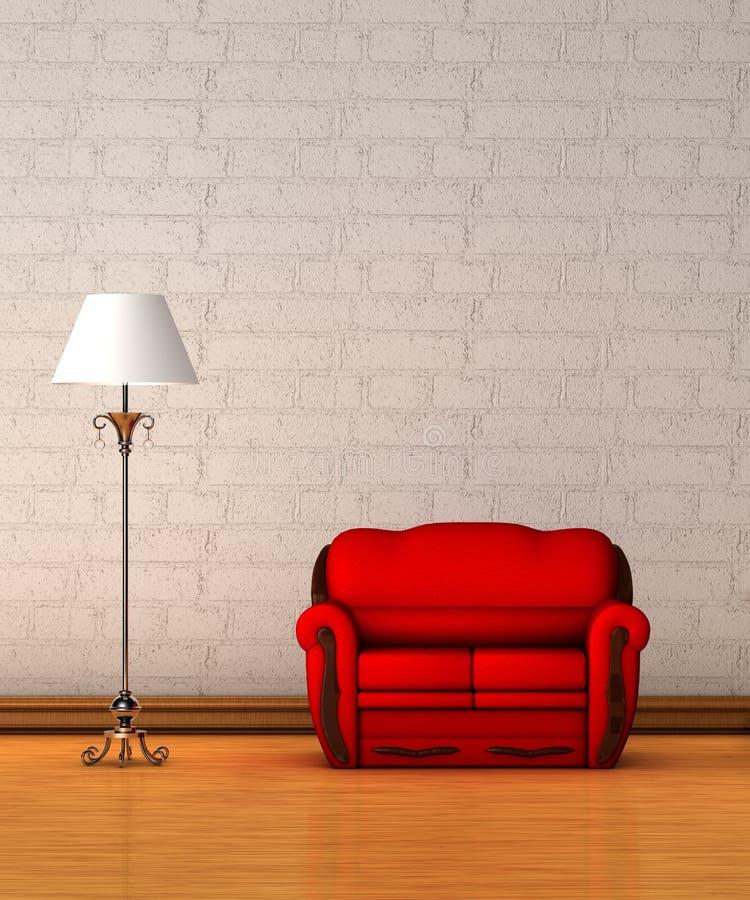 长沙发闪亮指示红色标准 向量例证