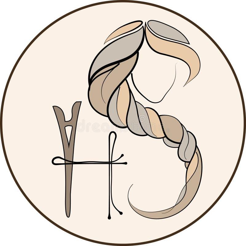 长的发型象,商标在白色背景,传染媒介的妇女面孔 库存例证