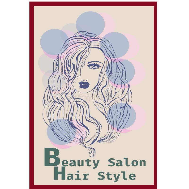 长的发型象,商标在迷离背景,传染媒介的妇女面孔 库存例证