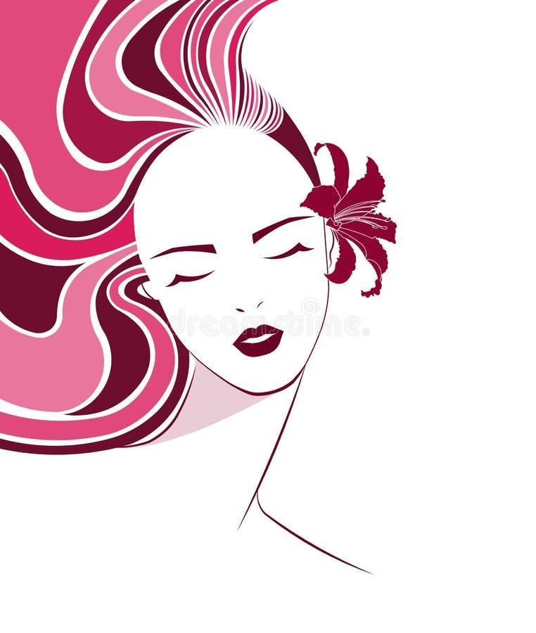 长的发型象,商标妇女面孔 库存例证