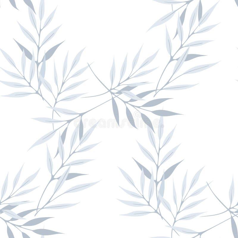 长的叶子传染媒介无缝的样式 向量例证